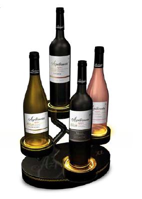 Expositor para botellas de vino metálico